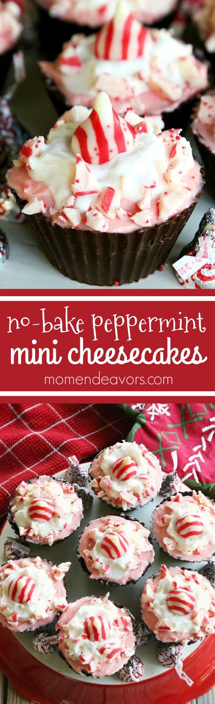 No-Bake Mini Peppermint Cheesecakes