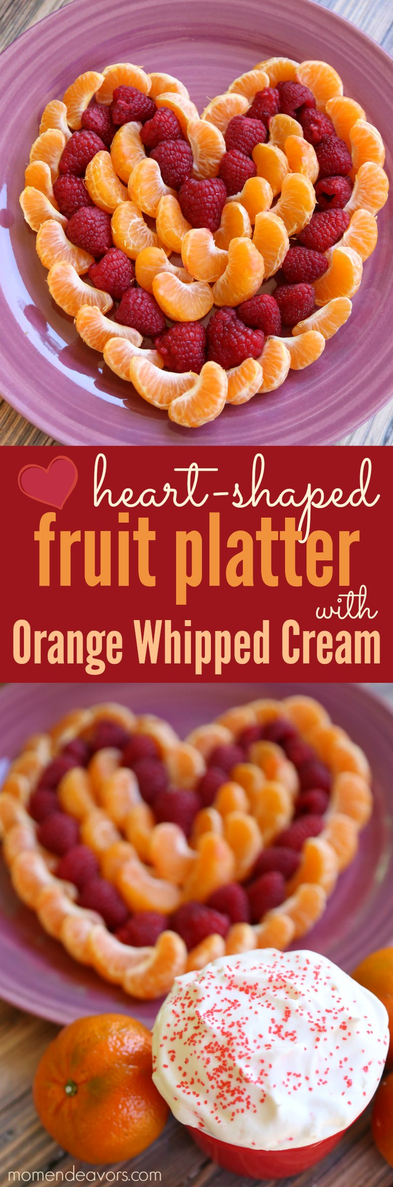 Heart-Shaped Fruit Platter with Orange Whipped Cream
