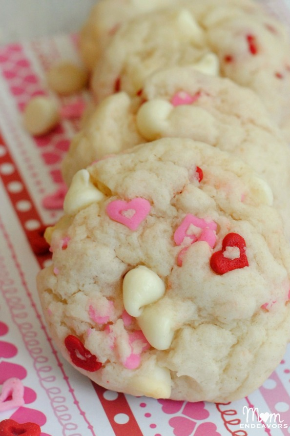White Chocolate Chip Valentine's Cookies