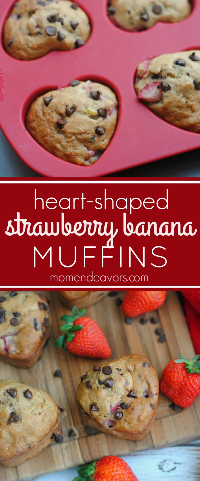 Heart-Shaped Strawberry Banana Muffins