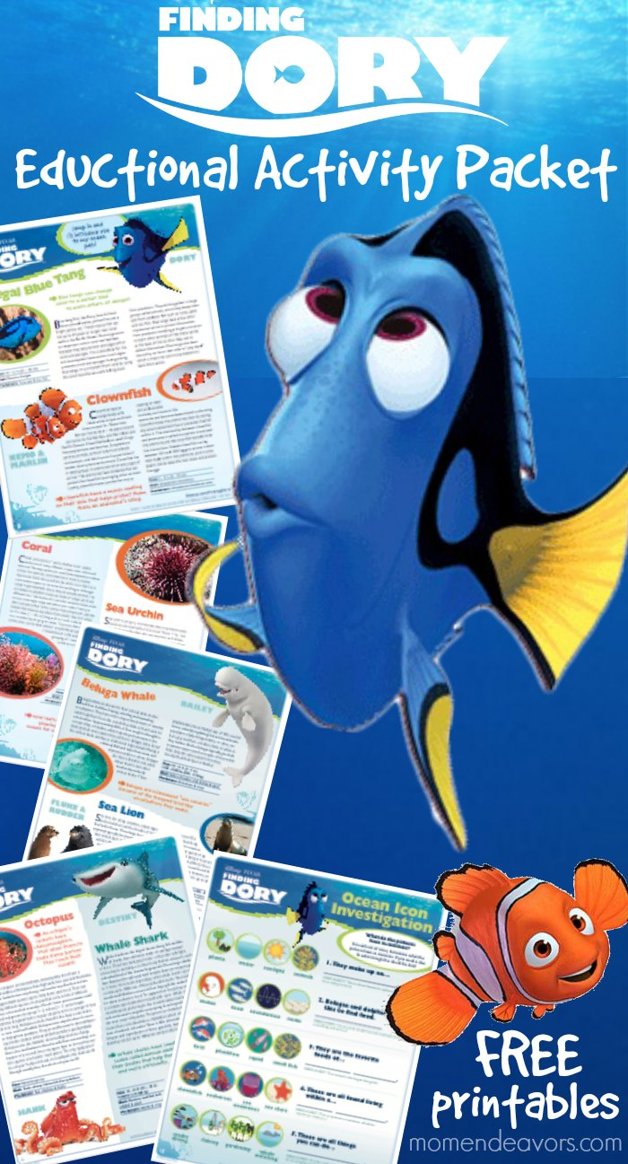 Disney Pixar Finding Dory Educational Activity Packet