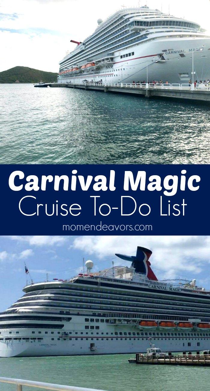 Carnival Magic Cruise To-Do List