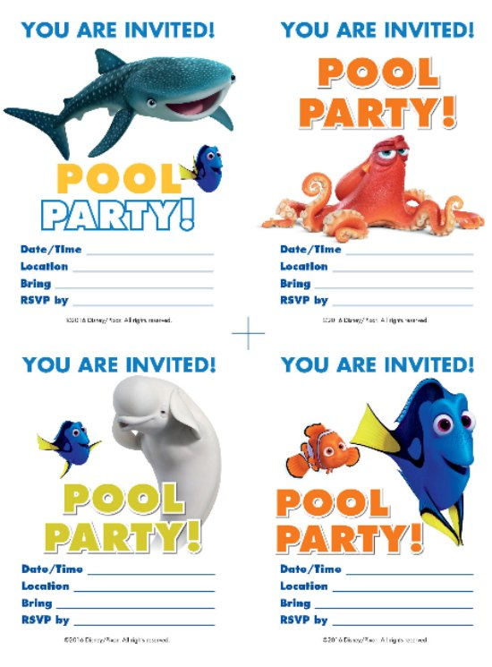 Finding Dory Pool Party Invitations