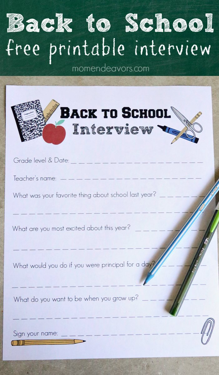 Back to School Free Printable Interview
