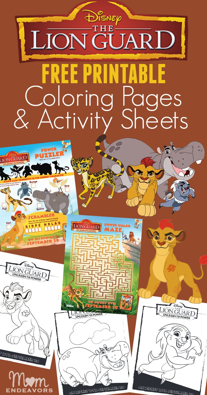 Disney Lion Guard Coloring Pages Activity Sheets