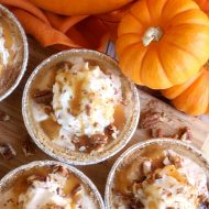 Mini Pumpkin Caramel Pecan No-Bake Cheesecakes