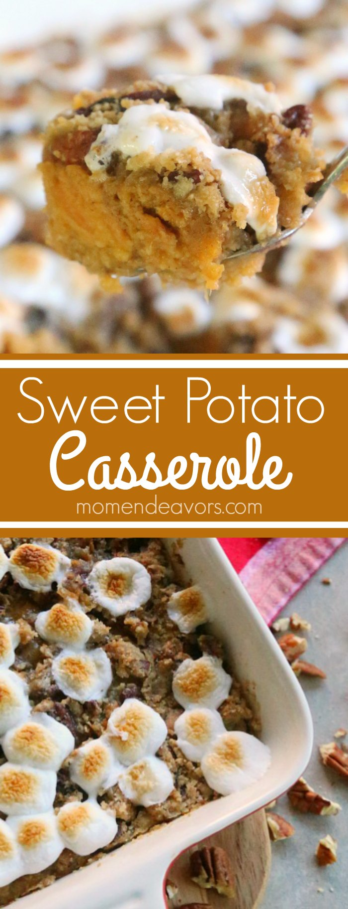 Candied Sweet Potato Casserole with Streusel & Marshmallows