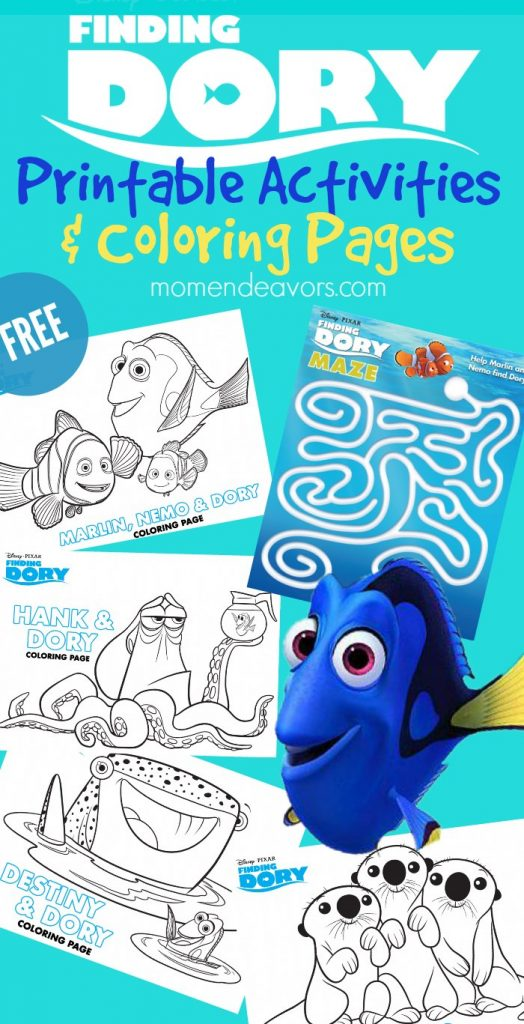 Disney\'s Finding Dory Printable Activities & Coloring Pages