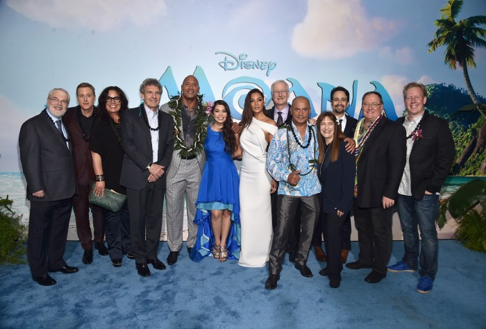 "HOLLYWOOD, CA - NOVEMBER 14: (L-R) Co- Director Ron Clements, actors Alan Tudyk, Rachel House, Chairman, The Walt Disney Studios, Alan Horn, actors Dwayne Johnson, Auli'i Cravalho, Nicole Scherzinger, co-director John Musker, actor Temuera Morrison, Producer Osnat Shurer, Songwriter Lin-Manuel Miranda, Executive producer John Lasseter and Screenwriter Jared Bush attend The World Premiere of Disney's ""MOANA"" at the El Capitan Theatre on Monday, November 14, 2016 in Hollywood, CA. (Photo by Alberto E. Rodriguez/Getty Images for Disney)"