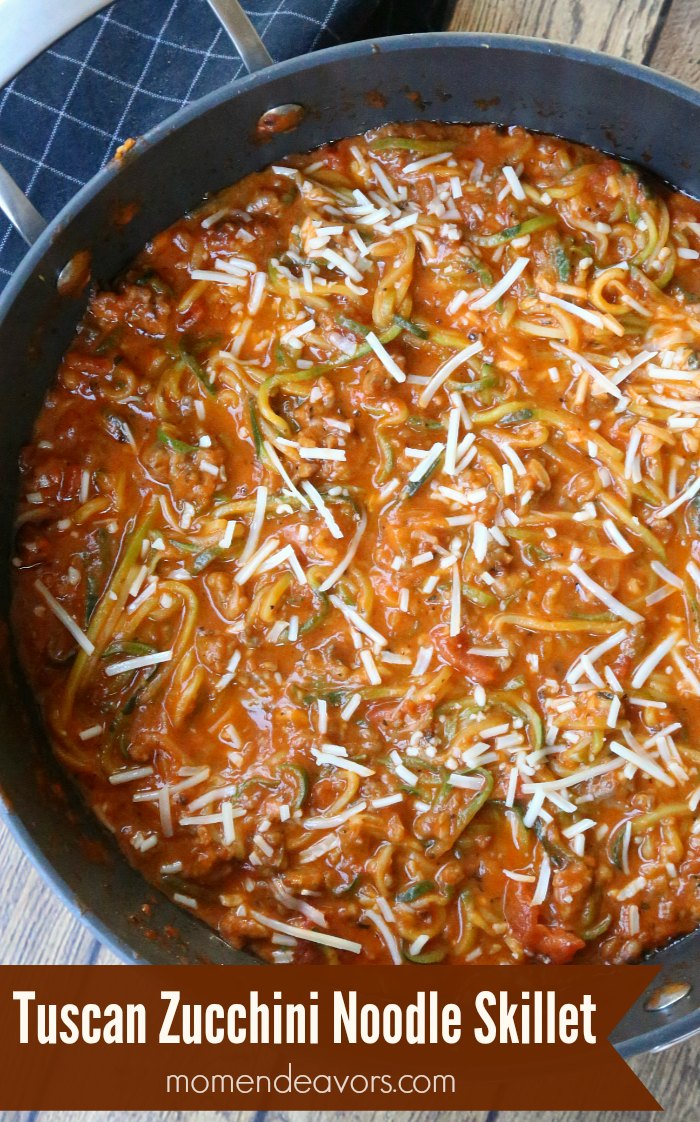 One Pot Tuscan Zucchini Noodle Skillet