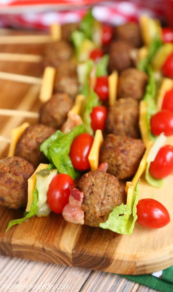 Cheeseburger Meatball Skewers