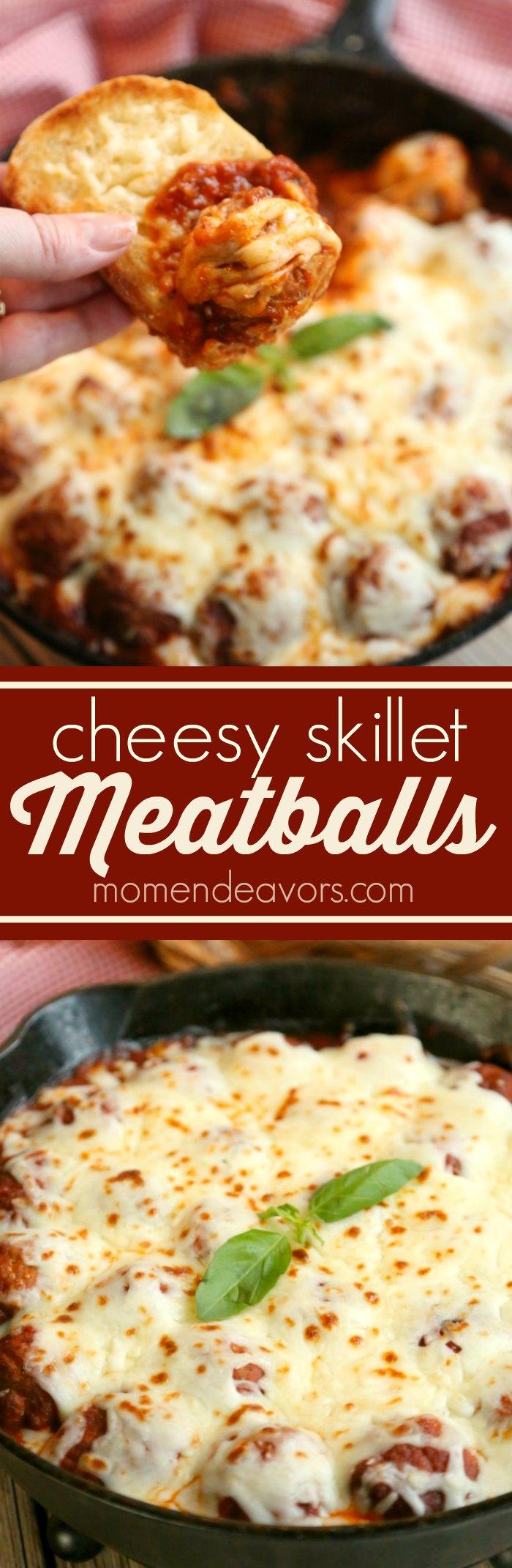 Cheesy Skillet Meatballs Recipe