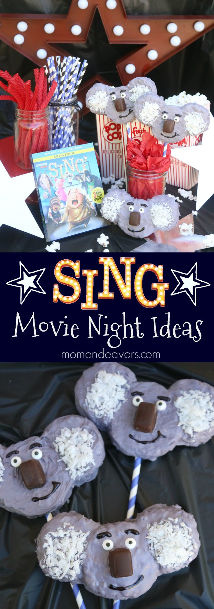 movie night sing diy koala krispy treats party birthday universal nights momendeavors dvd themes moon buster own