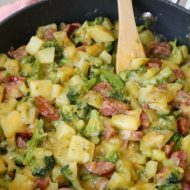 Cheesy Sausage, Potato, and Broccoli Skillet