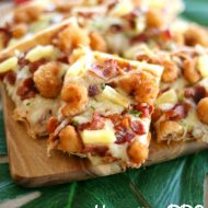 Hawaiian BBQ Popcorn Shrimp Pizza