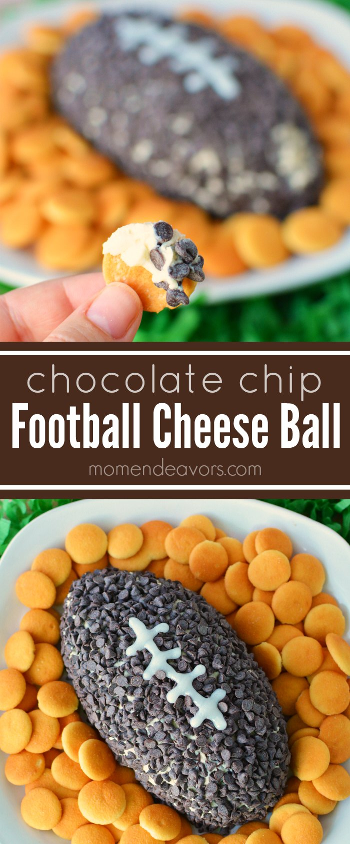 Chocolate Chip Football Cheese Ball Recipe