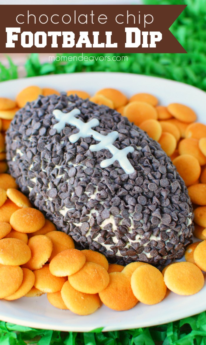 Football-Shaped Chocolate Chip Dip