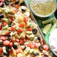 Salsa Verde Chicken Sheet Pan Nachos