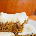 Frosted Pumpkin Cinnamon Chip Bars