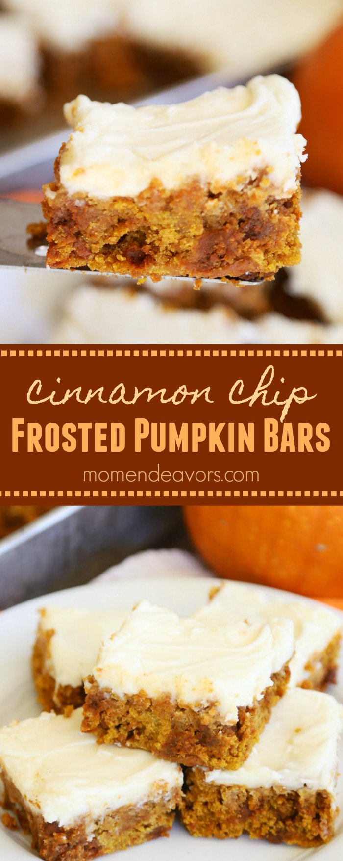 Easy Cinnamon Chip Frosted Pumpkin Bars