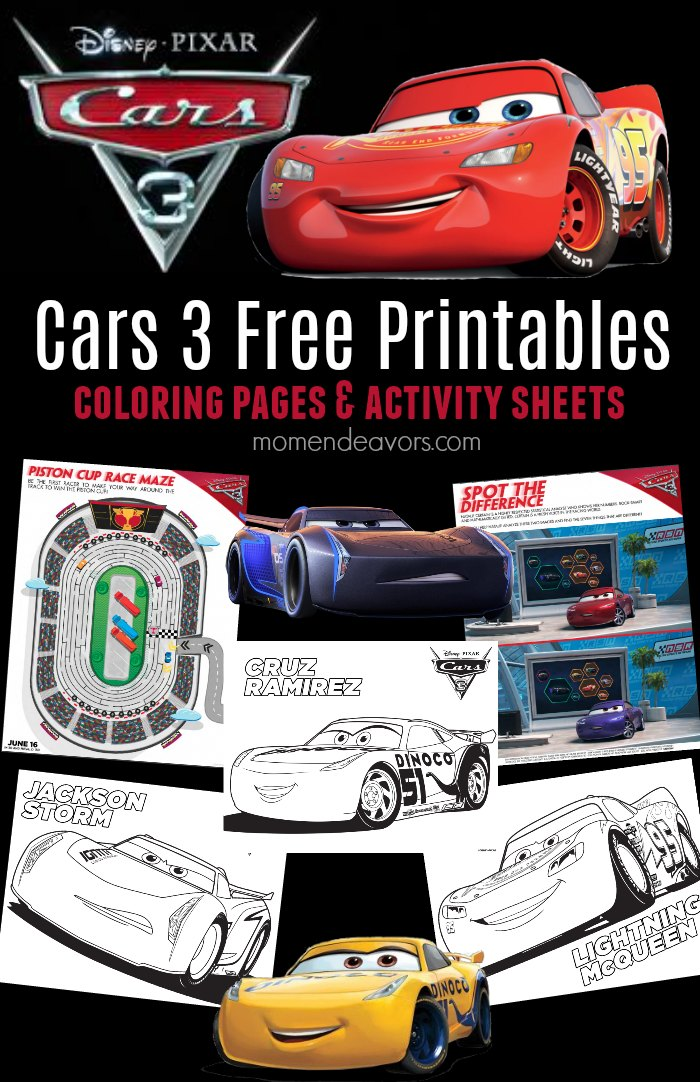 DisneyPixar Cars 3 Printable Activities Coloring Pages
