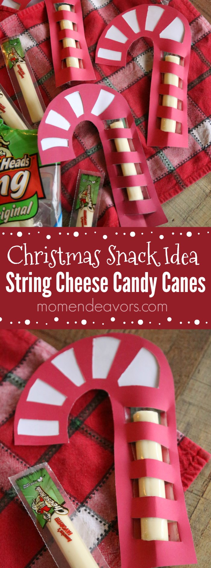 Healthy Christmas Snack String Cheese Candy Cane