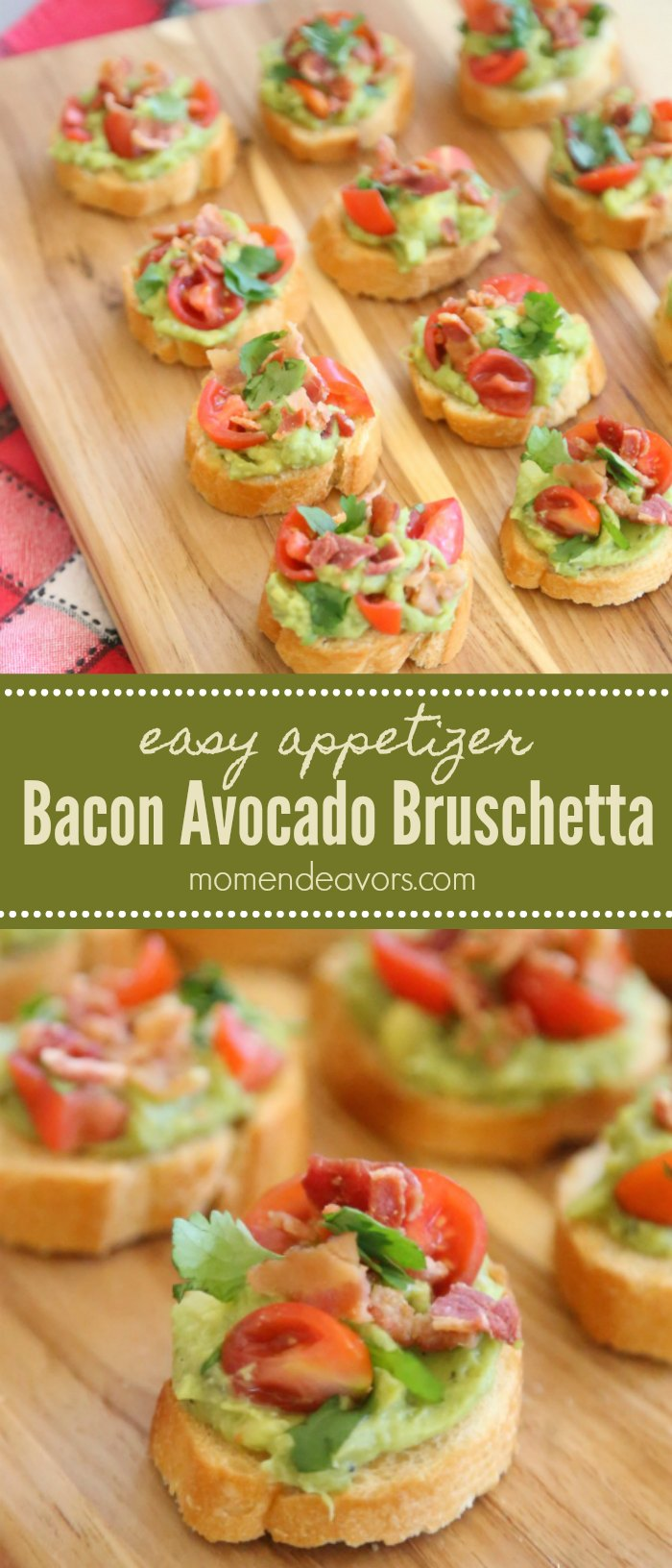 Bacon Avocado Bruschetta Appetizer