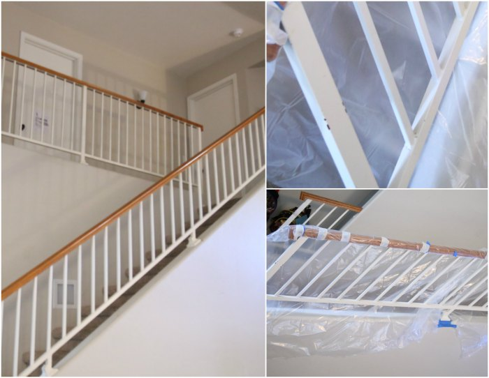 Spray painting metal banister