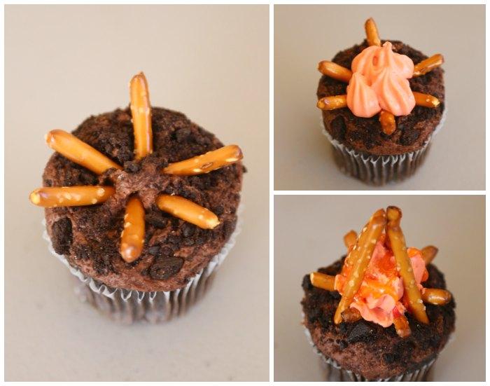 Making campfire cupcakes