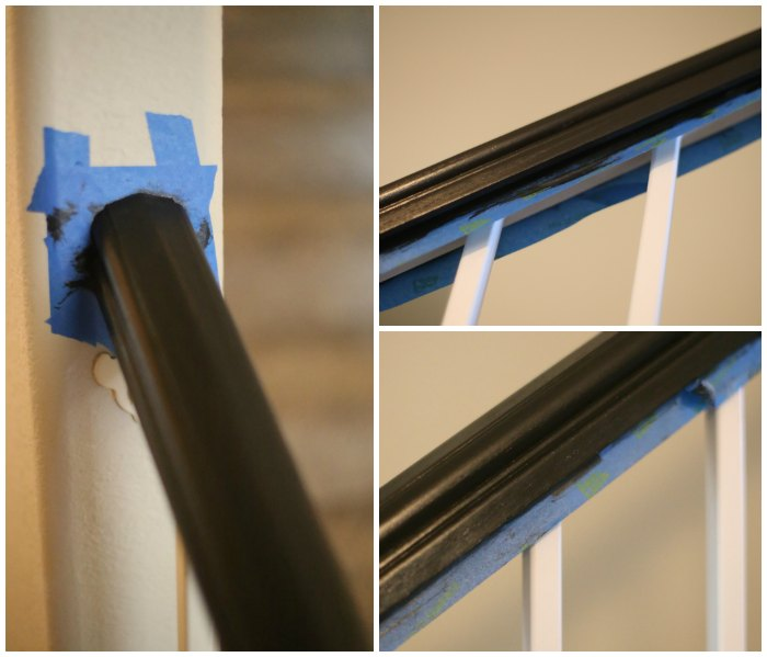 Painting wooden rails black