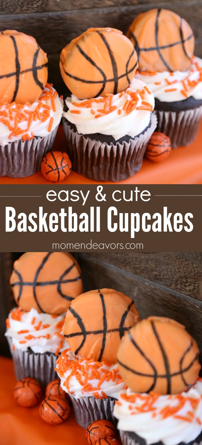 Easy & Cute Basketball Cupcakes