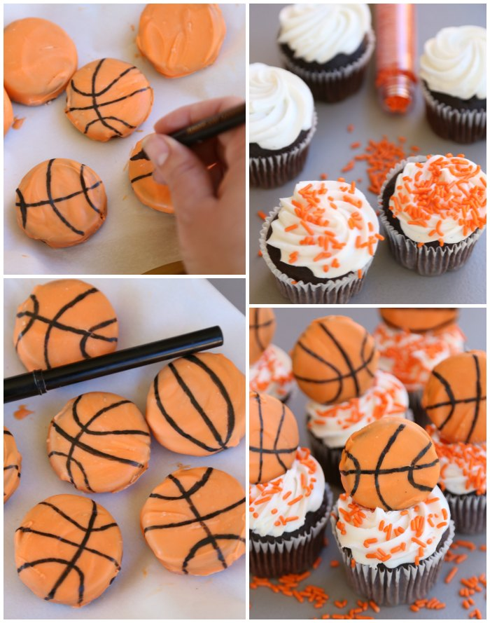 Making Basketball Cupcake Toppers