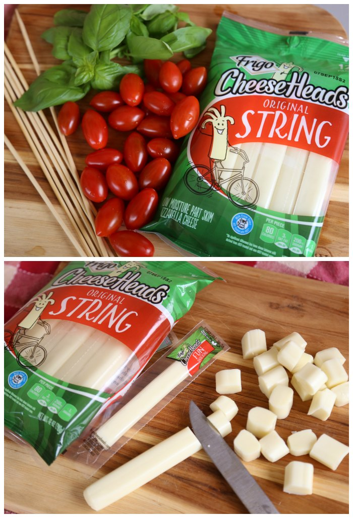 String Cheese Caprese Bites