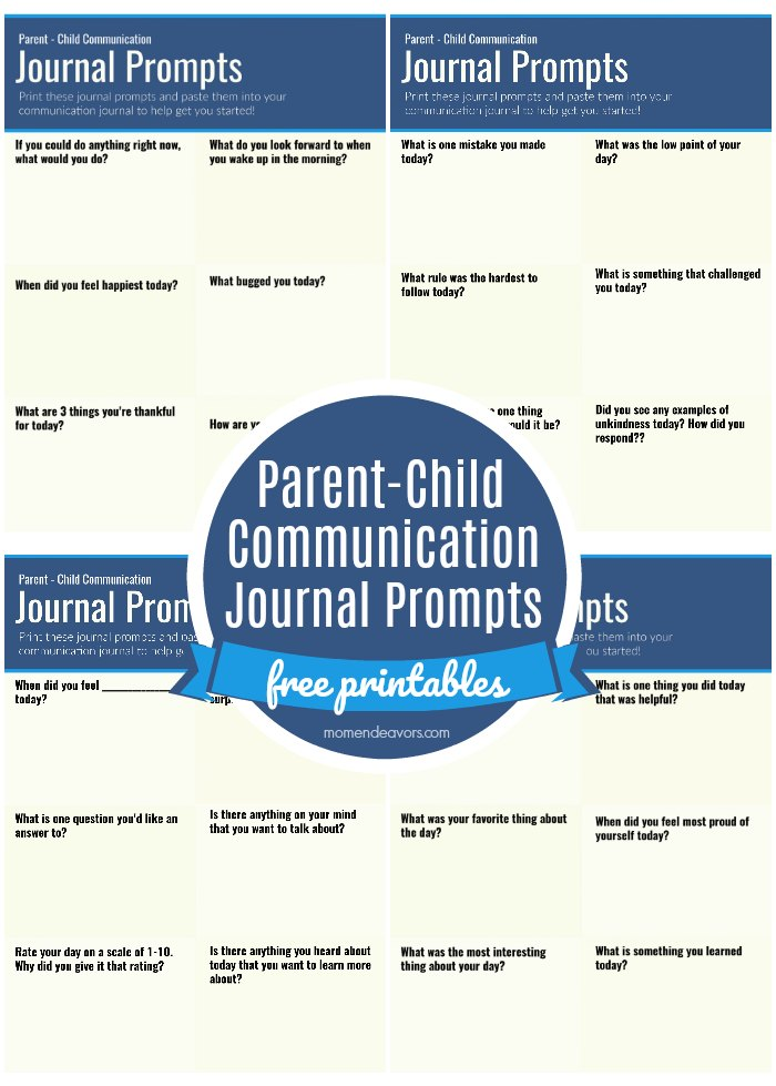 Parent Child Journal Prompts Printables