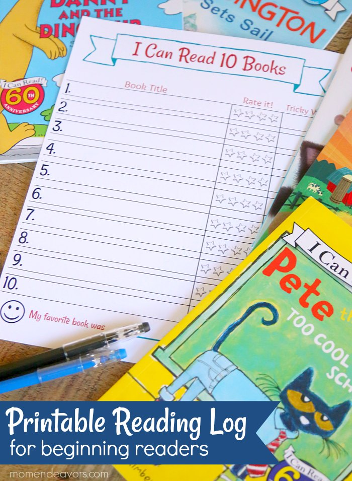 Printable Reading Log for Beginning Readers