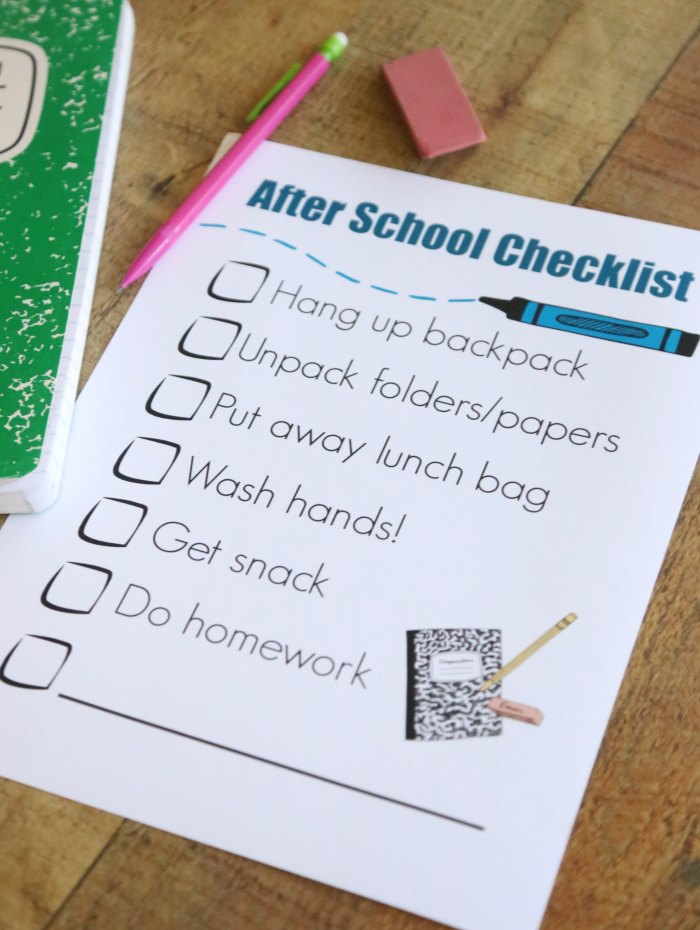 After School Routine Checklist