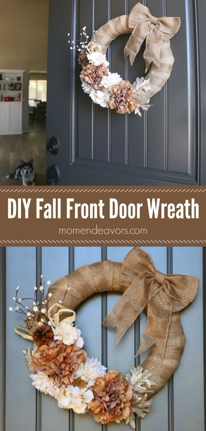 DIY Burlap Fall Front Door Wreath
