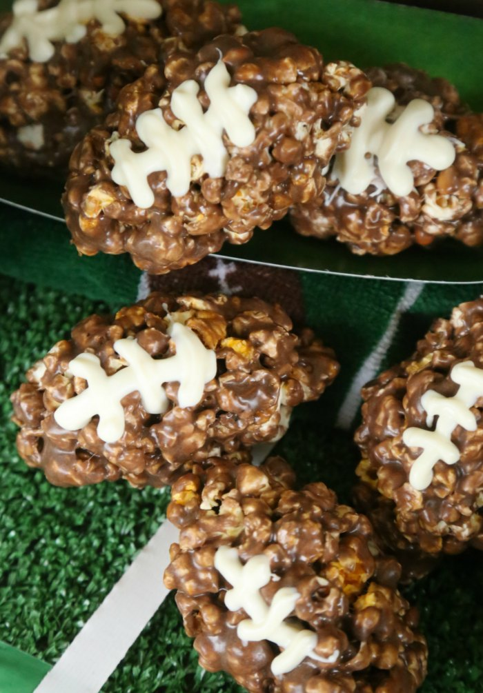 Chocolate Football Popcorn Balls
