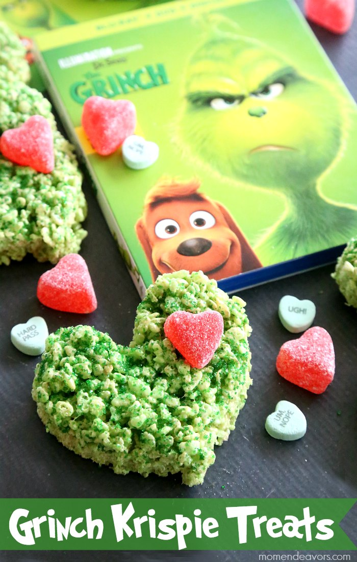 Grinch Heart Krispie Treats