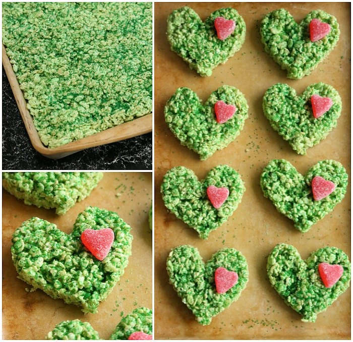 Making grinch krispie treats