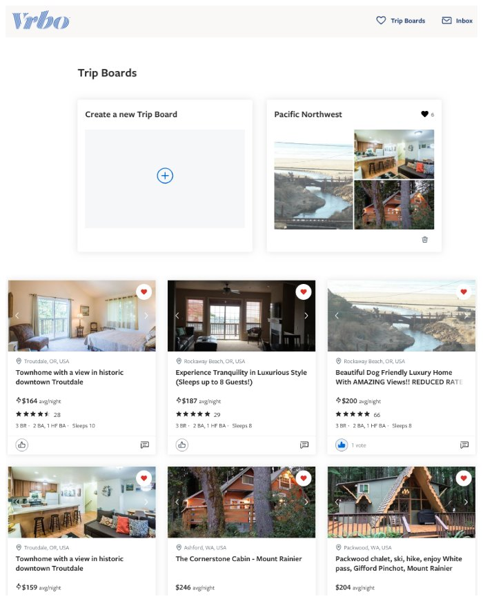 VRBO Trip Boards