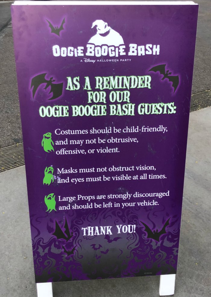 Oogie Boogie Bash Costume Rules Sign