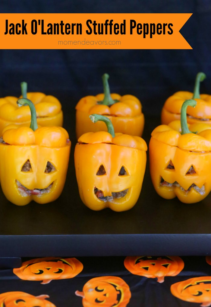 Halloween Jack O'Lantern Stuffed Peppers
