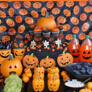 Pumpkin Party Table Food Spread