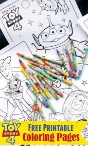 Toy Story 4 Printable Coloring Pages with Toy Story Crayons
