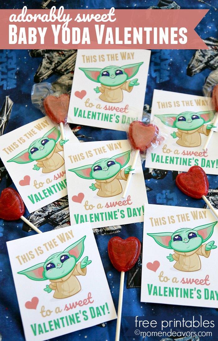 Printable Baby Yoda Valentines Cards