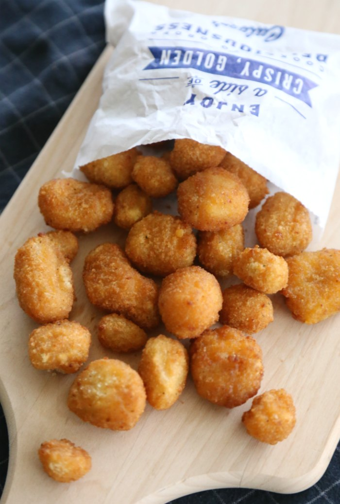 Fried Cheese Curds from Culver's on a cheese board