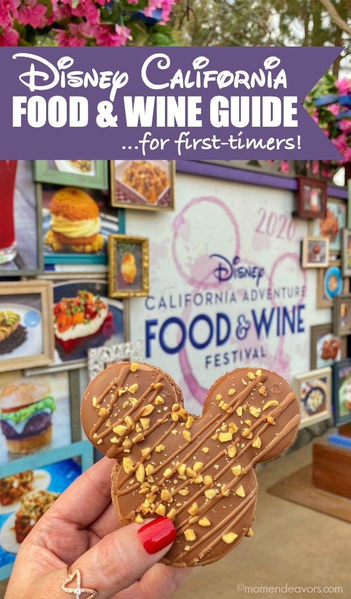 Mickey-Shaped Macaron in front of the Disney California Food & Wine Festival Sign