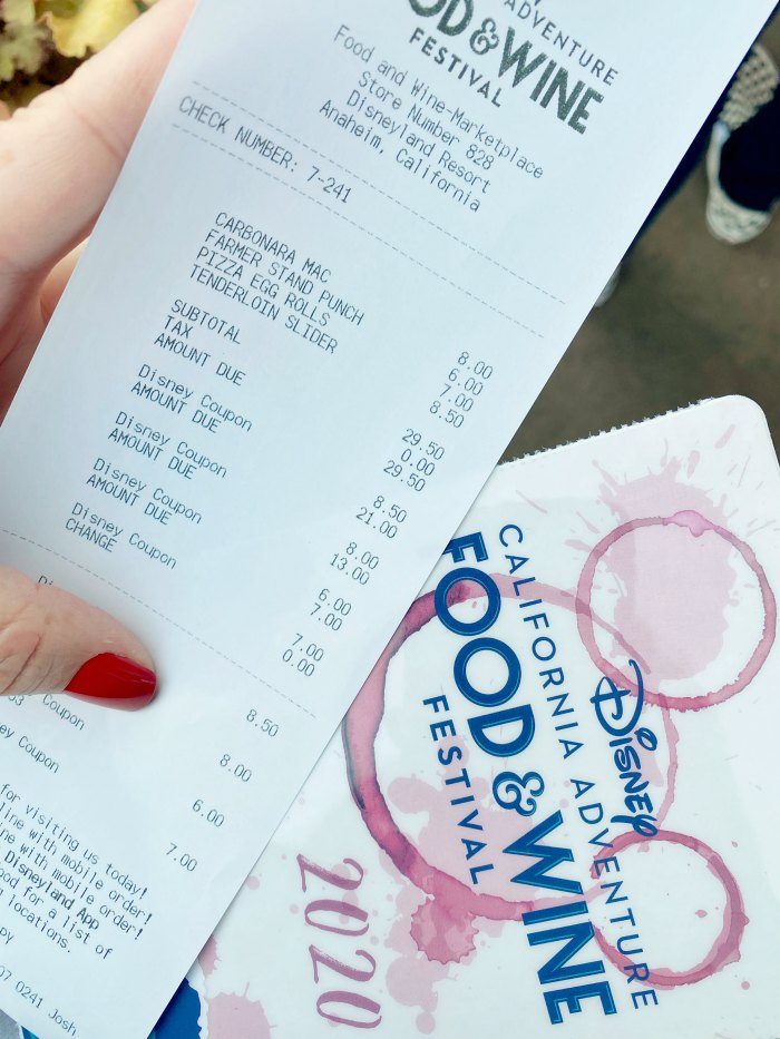 Disney Food & Wine Festival Receipt