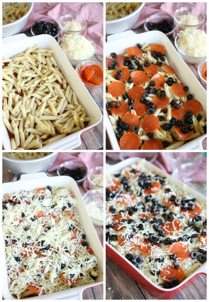 Collage image of assembling pizza casserole